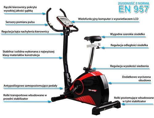 Rower elektromagnetyczny HS-76R VIPER marki Hop-Sport - infografika